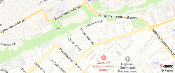 Машинный переулок на карте Бийска с номерами домов