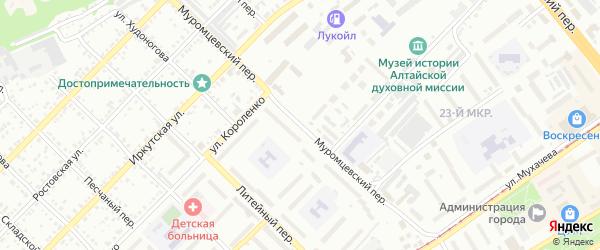 Муромцевский переулок на карте Бийска с номерами домов