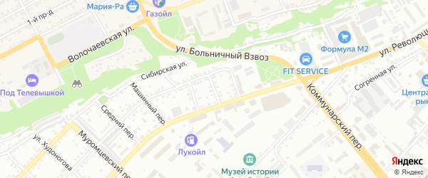 Больничный переулок на карте Бийска с номерами домов