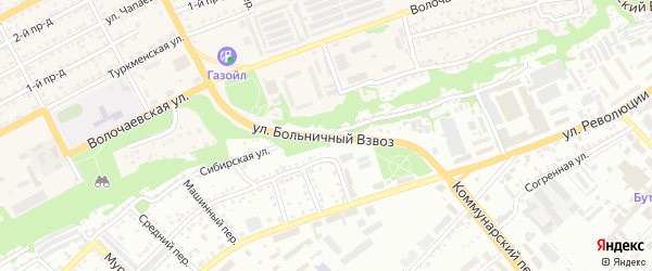 Улица Больничный взвоз на карте Бийска с номерами домов