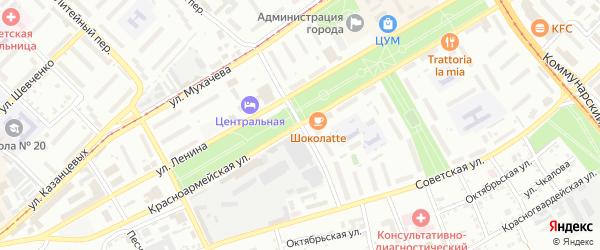 Училищный переулок на карте Бийска с номерами домов