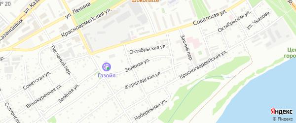 Зеленая улица на карте садового некоммерческого товарищества N 7 с номерами домов
