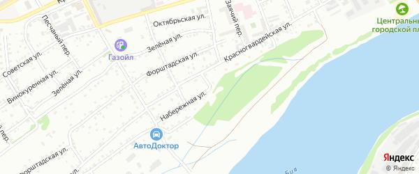 Набережная улица на карте садового некоммерческого товарищества Бии с номерами домов