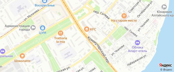 Коммунарский переулок на карте Бийска с номерами домов