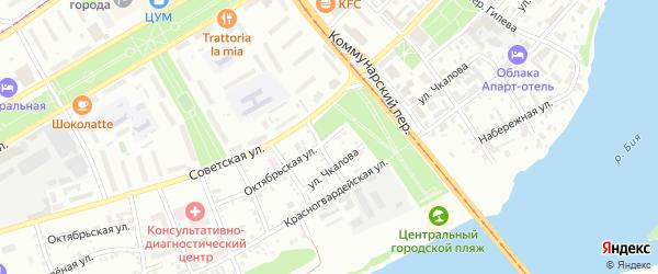 Октябрьская улица на карте Бийска с номерами домов