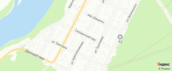 Смоленский переулок на карте Бийска с номерами домов