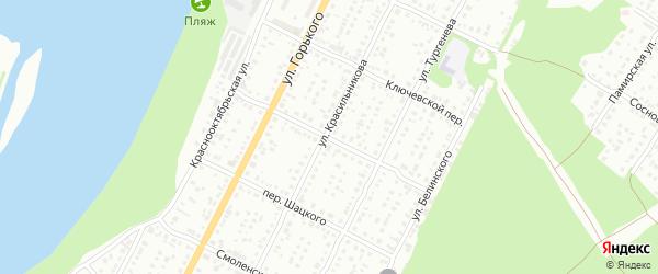 Ярковский переулок на карте Бийска с номерами домов
