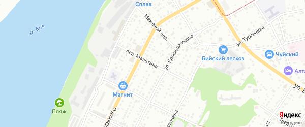 Переулок Галактиона Малетина на карте Бийска с номерами домов