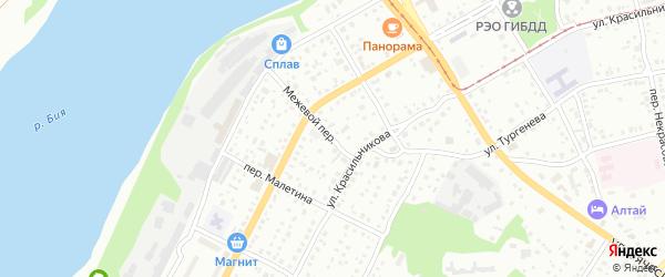 Межевой переулок на карте Бийска с номерами домов