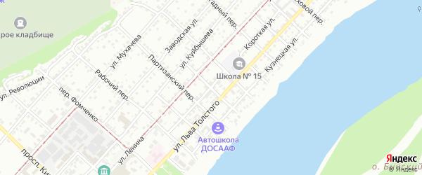 Индустриальный переулок на карте Бийска с номерами домов