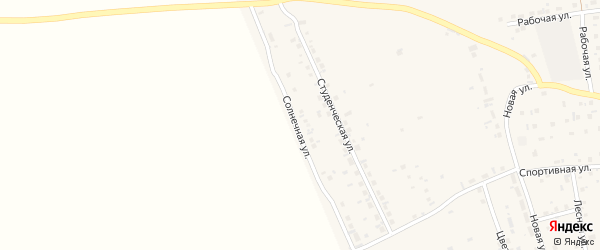 Солнечная улица на карте Первомайского села с номерами домов