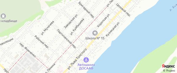 Короткая улица на карте Бийска с номерами домов