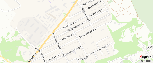 Минская улица на карте Бийска с номерами домов