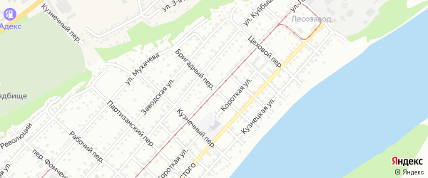 Бригадный переулок на карте Бийска с номерами домов
