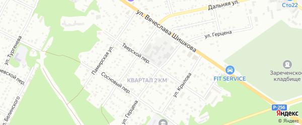 Тверской переулок на карте Бийска с номерами домов
