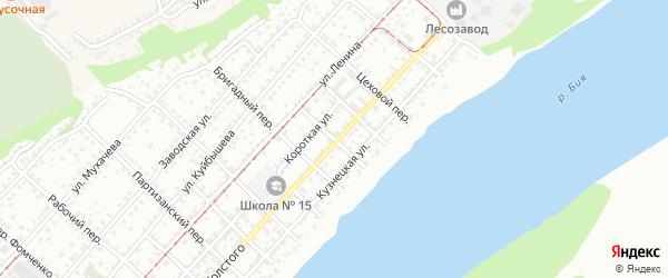 Непроездной переулок на карте Бийска с номерами домов