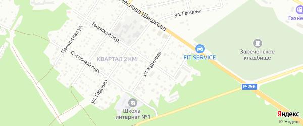 Улица Ивана Крылова на карте Бийска с номерами домов