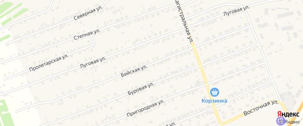 Бийская улица на карте Первомайского села с номерами домов