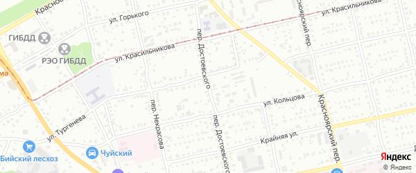 Переулок Фёдора Достоевского на карте Бийска с номерами домов
