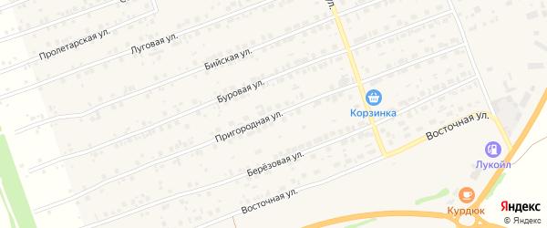 Пригородная улица на карте Первомайского села с номерами домов