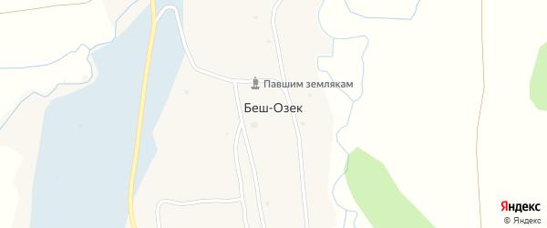 Центральная улица на карте села Беш-Озек с номерами домов