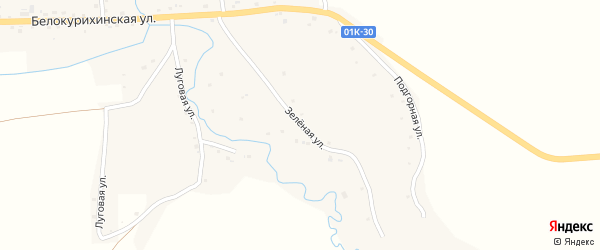 Зеленая улица на карте села Россоши с номерами домов