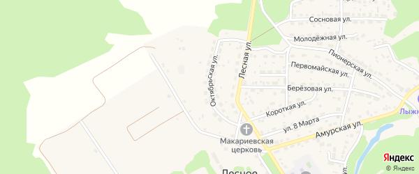 Октябрьская улица на карте Лесного села с номерами домов