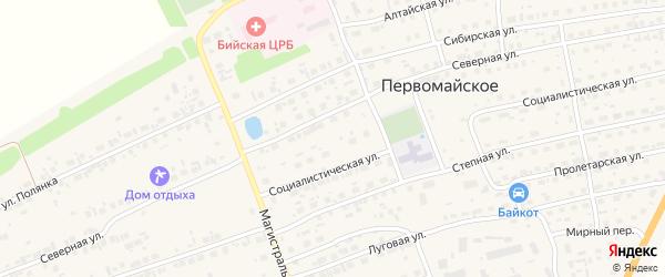 Магистральная улица на карте Первомайского села с номерами домов