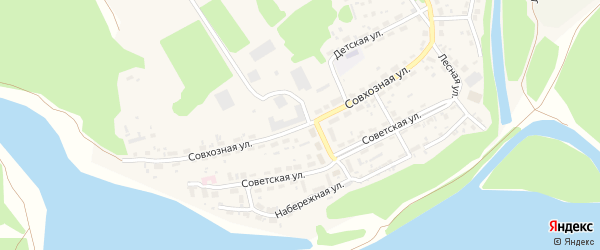 Совхозная улица на карте Лесного села с номерами домов
