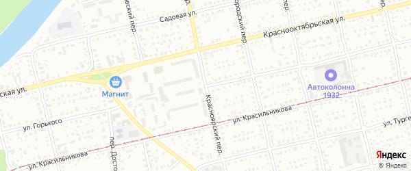 Красноярский переулок на карте Бийска с номерами домов