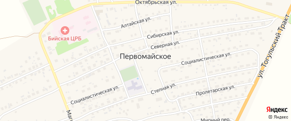 Парковая улица на карте Первомайского села с номерами домов