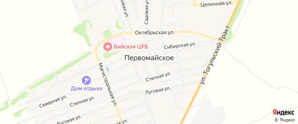 Карта Первомайского села в Алтайском крае с улицами и номерами домов