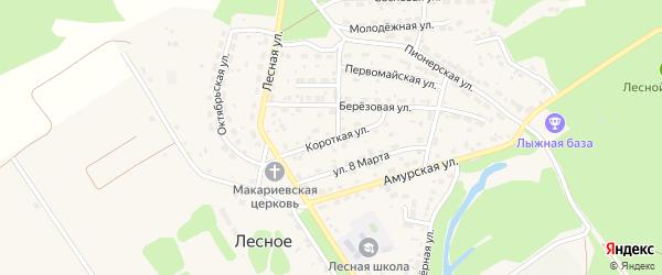 Короткая улица на карте Лесного села с номерами домов