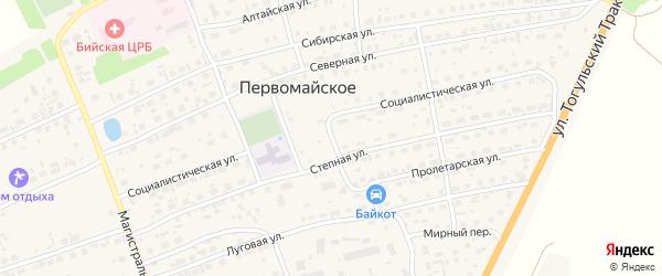 Социалистическая улица на карте Первомайского села с номерами домов