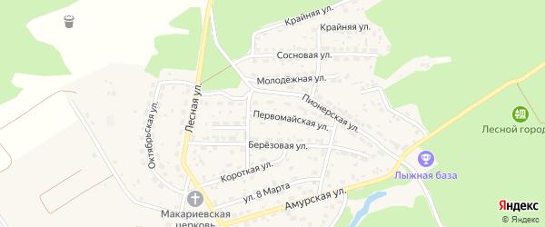 Первомайская улица на карте Лесного села с номерами домов