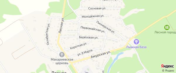 Березовая улица на карте Лесного села с номерами домов