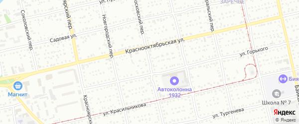 Московский переулок на карте Бийска с номерами домов