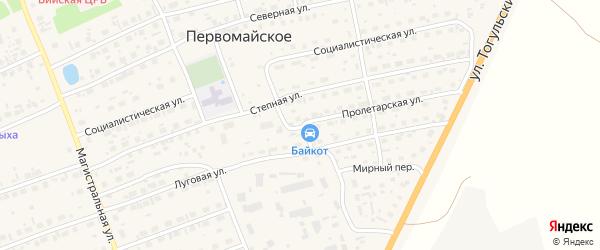 Пролетарская улица на карте Первомайского села с номерами домов