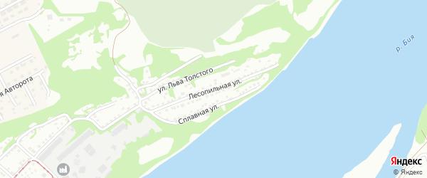 Лесопильная улица на карте Бийска с номерами домов
