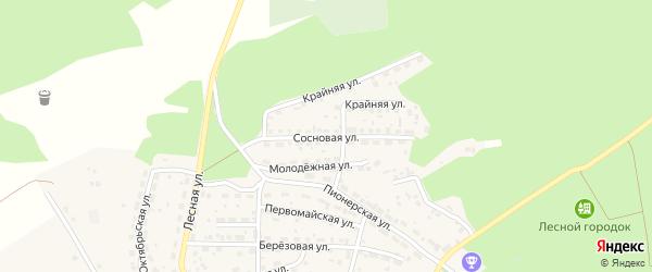 Сосновая улица на карте садового некоммерческого товарищества Радуги с номерами домов
