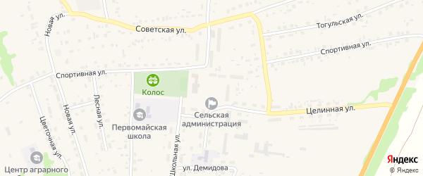 Площадь Мира на карте Первомайского села с номерами домов