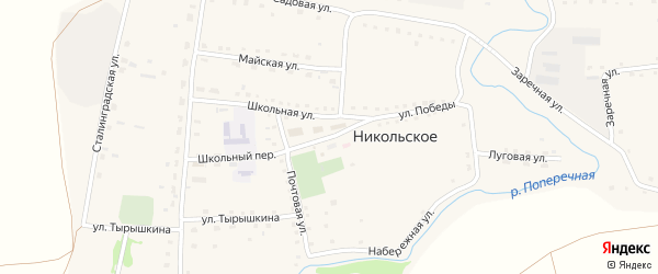 Улица Победы на карте Никольского села с номерами домов