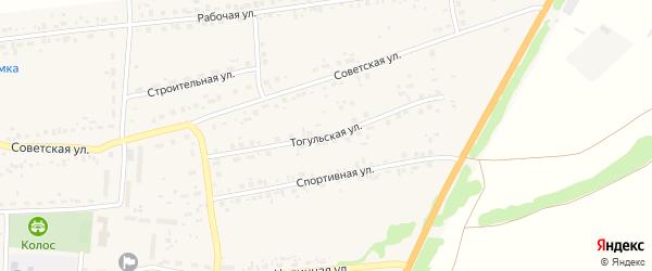Тогульская улица на карте Первомайского села с номерами домов