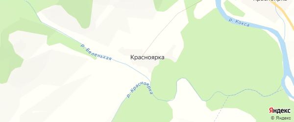 Карта села Красноярки в Алтае с улицами и номерами домов