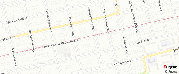 Улица Михаила Лермонтова на карте Бийска с номерами домов