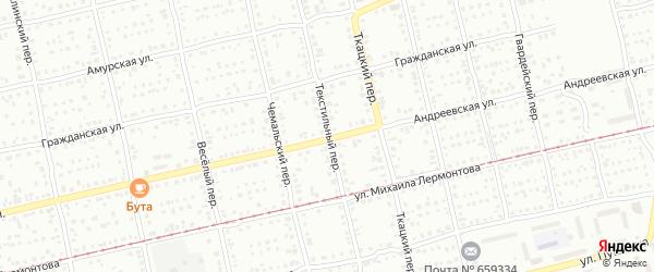Текстильный переулок на карте Бийска с номерами домов