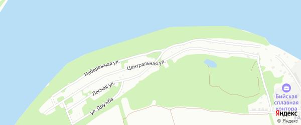 Центральная улица на карте садового некоммерческого товарищества Бии с номерами домов