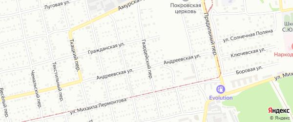 Гвардейский переулок на карте Бийска с номерами домов