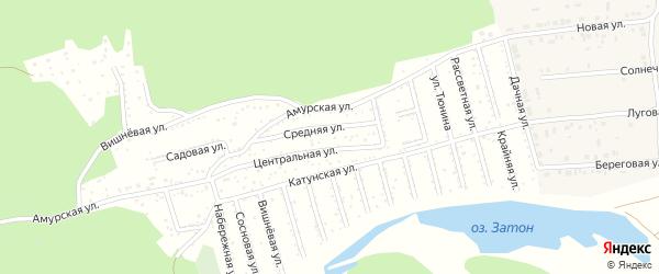 Средняя улица на карте Амурского садового некоммерческого товарищества с номерами домов