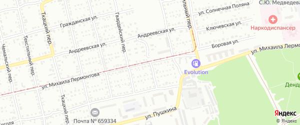 Ленточный переулок на карте Бийска с номерами домов